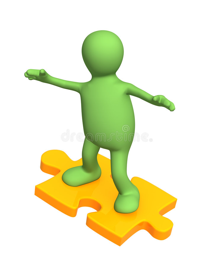 3d person puppet sliding on slice puzzle royalty free illustration