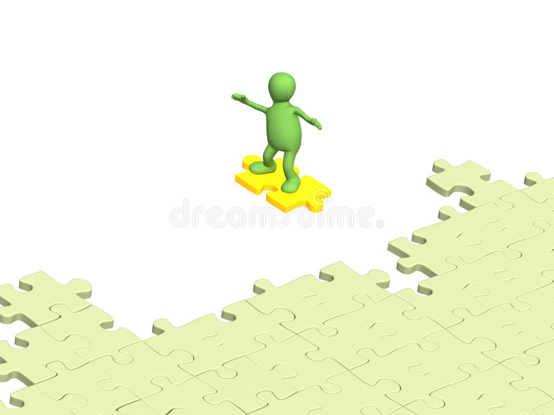 3d person puppet sliding on slice puzzle stock image