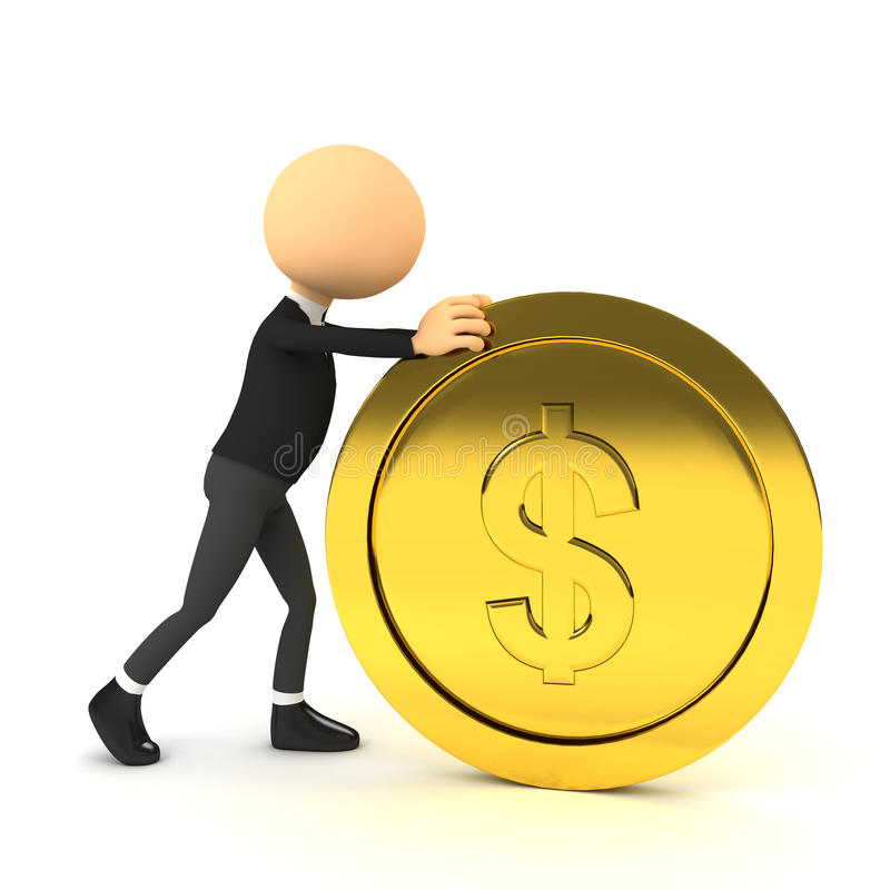 Free 3d Person Push Gold Coin. Royalty Free Stock Images - 21059899