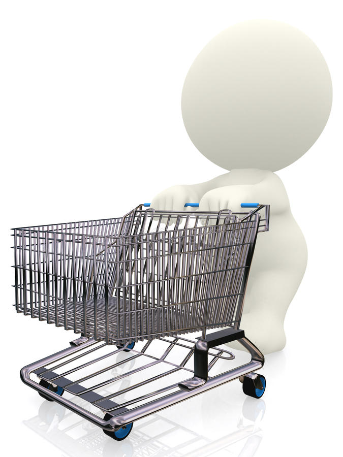 Download 3D Person Pushing A Trolley Stock Illustration - Illustration of person, market: 13807260