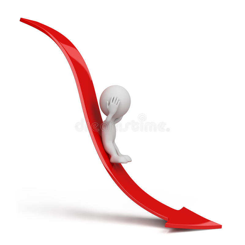 3d person rolling down stock illustration