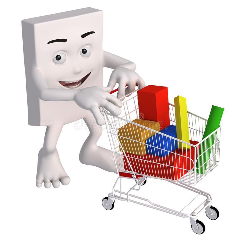3d person with shopping trolley. Happy square shaped 3d person pushing shopping trolley filled with colorful blocks, white background vector illustration