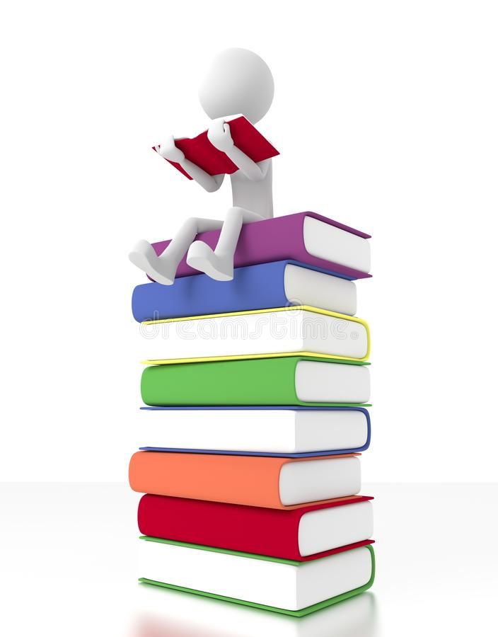 Download 3d Person Sit On A Pile Of Books Reading A Book Stock Illustration - Illustration: 26141531