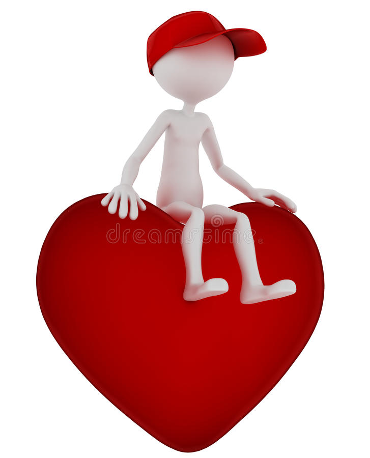 Download 3d Person Sitting On Heart Shape Stock Illustration - Image: 21228667