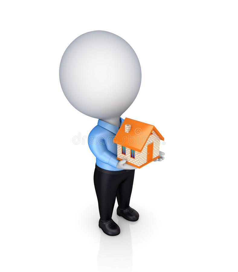 3d person with a small house in a hands. stock illustration