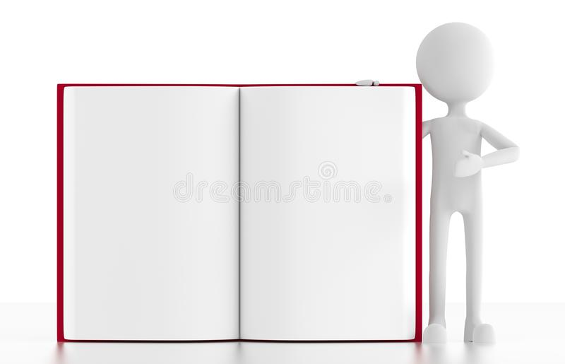 3d person stands next to an open blank book royalty free illustration