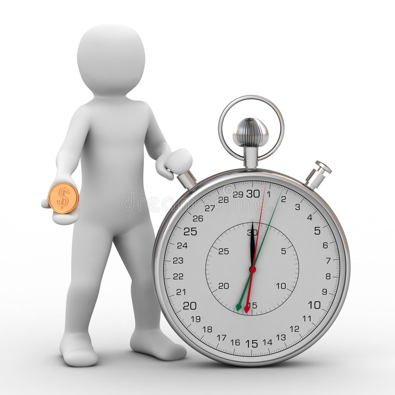 3d Person And Stopwatch Royalty Free Stock Image