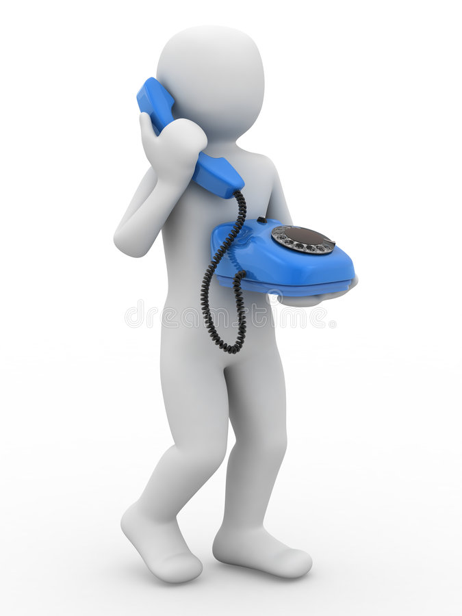 3d Person With Telephone Royalty Free Stock Photos