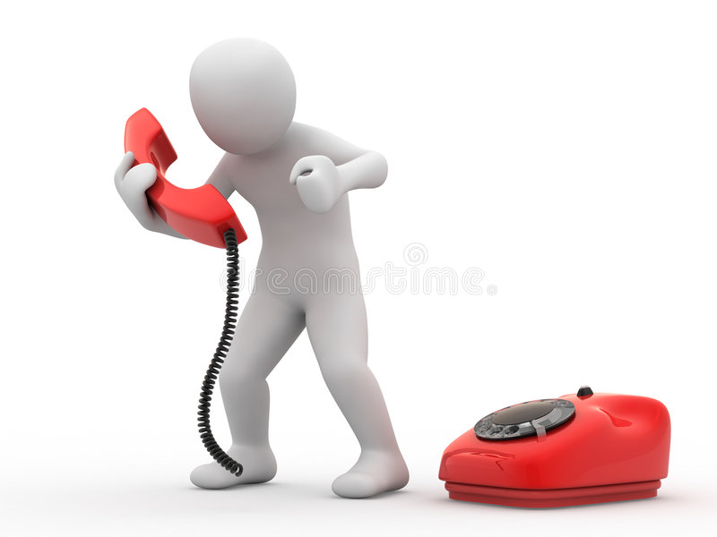 3d person with telephone. On white background stock illustration