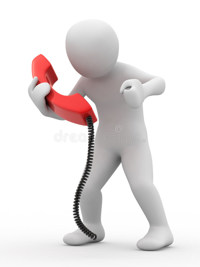 3d person with telephone. On white background vector illustration
