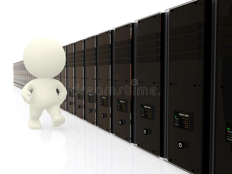 Download 3D Person Walking Along Servers Stock Illustration - Image: 13807398