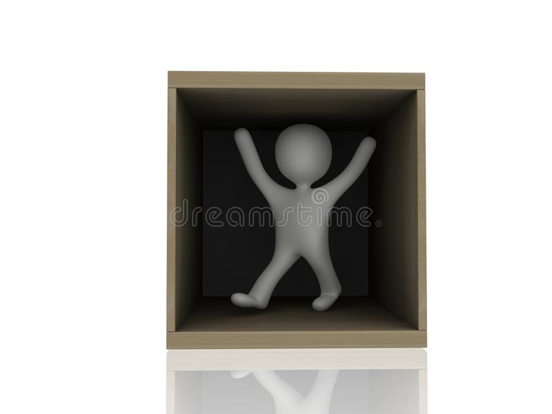 3d Person In Wooden Box Stock Photo