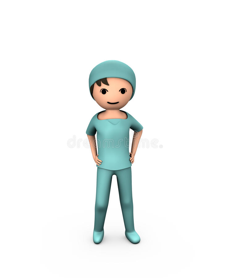 3D Person Young Doctor. Wearing Scrubs on White royalty free illustration