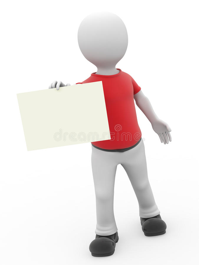 Download 3d Personage And Empty Form. Stock Illustration - Image: 9428325