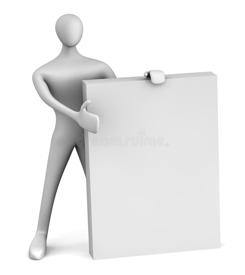 3d persoon die de doos toont vector illustratie