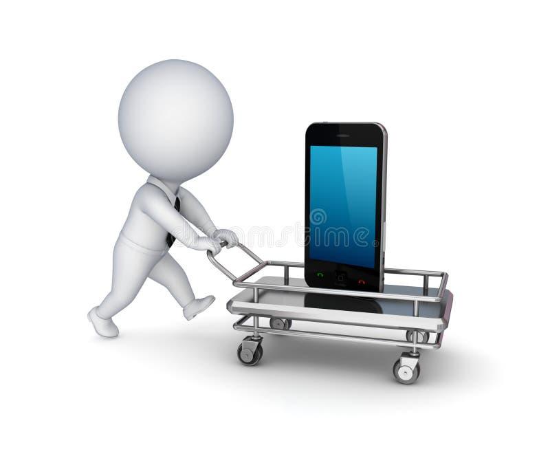 3d persoon, het winkelen karretje en mobiele telefoon. royalty-vrije illustratie