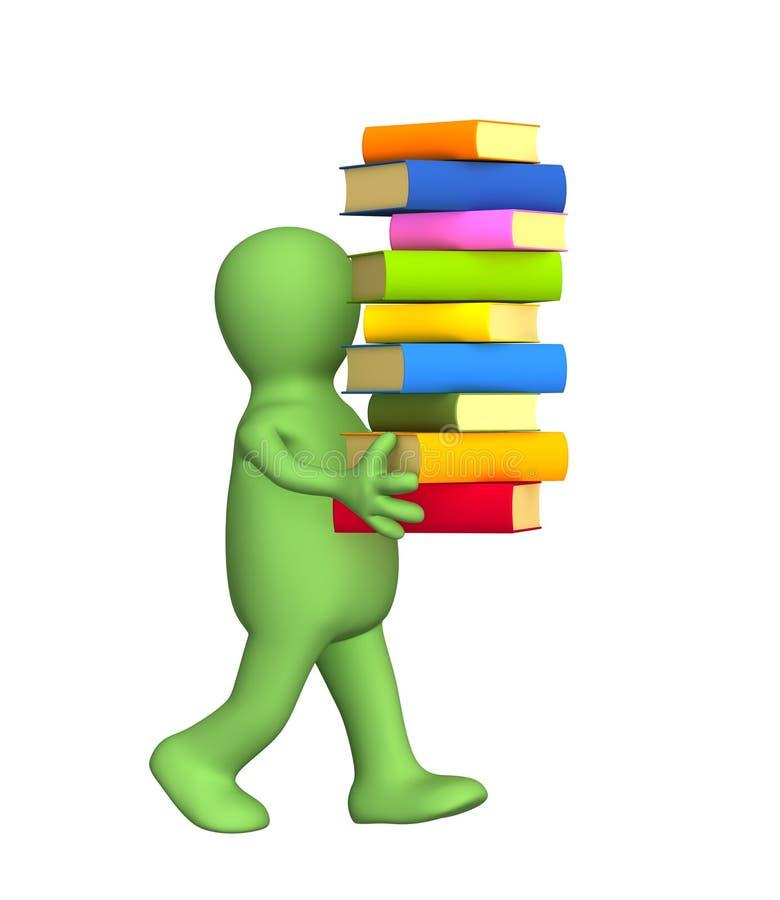 3d persoon - marionet, die een stapel van boeken draagt vector illustratie