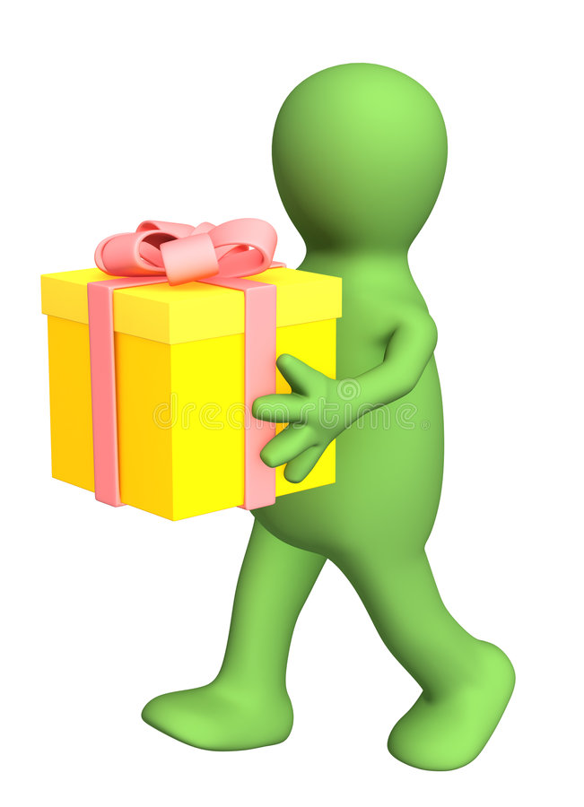 3d persoon - marionet, gift het dragen in handen stock illustratie