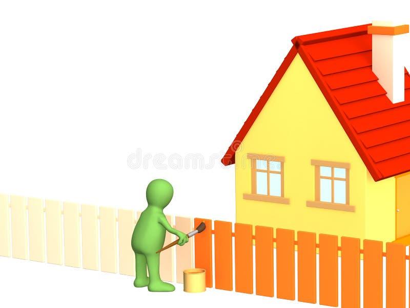 3d persoon - marionet, het schilderen omheining in oranje kleur vector illustratie