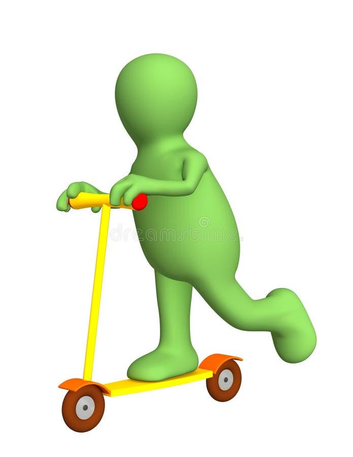 3d persoon - marionet op een helder skateboard vector illustratie
