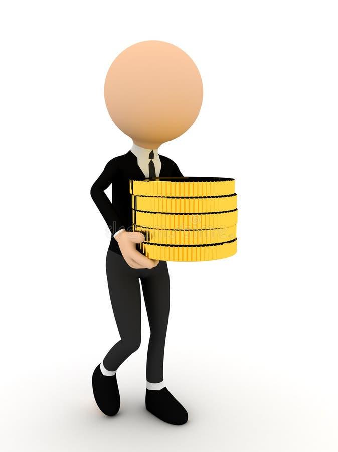 3d persoon met gouden muntstukken. stock illustratie