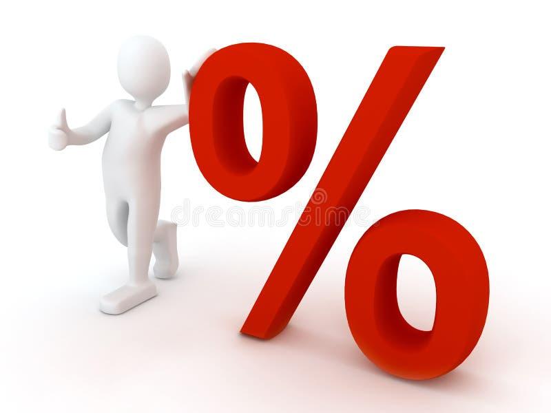 3d persoon met procent teken vector illustratie