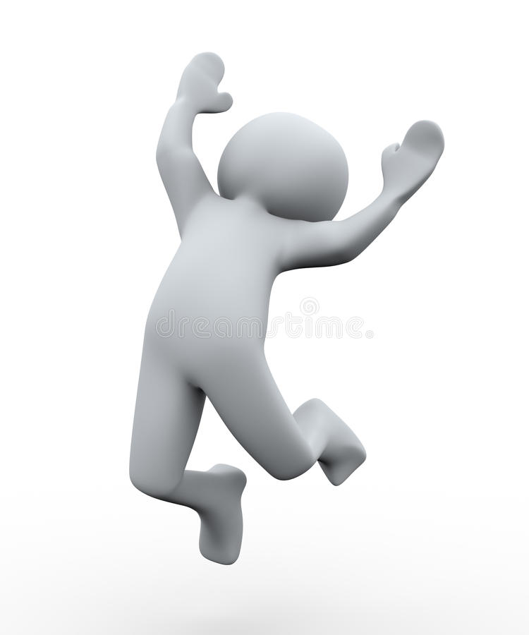 3d persoons gelukkige sprong vector illustratie