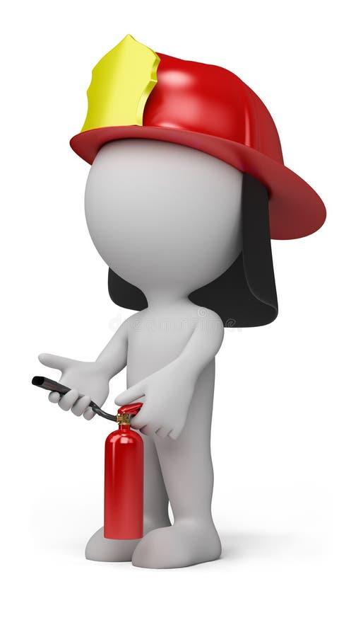 3d pessoa - bombeiro ilustração royalty free