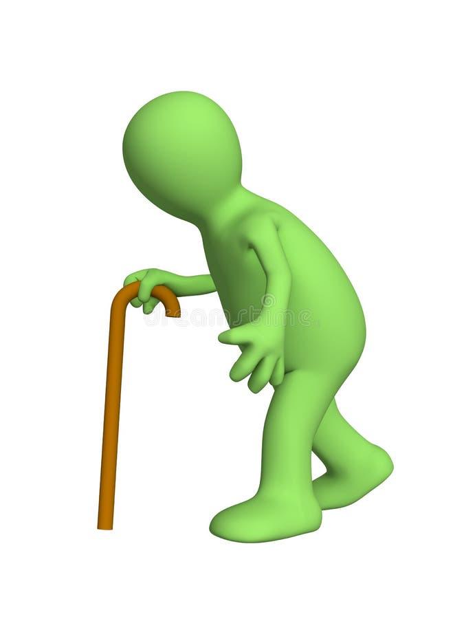 3d pessoa curvada - fantoche, indo com um bastão ilustração royalty free