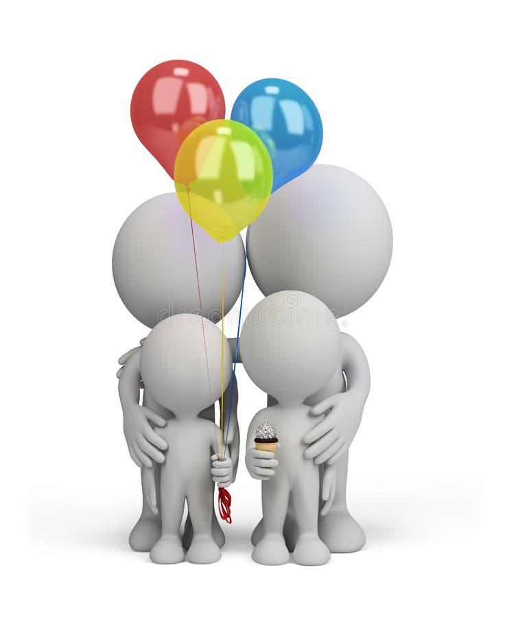 3d pessoa - família feliz ilustração do vetor