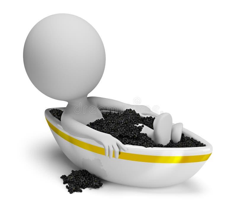 3d petits gens - bain de caviar illustration de vecteur