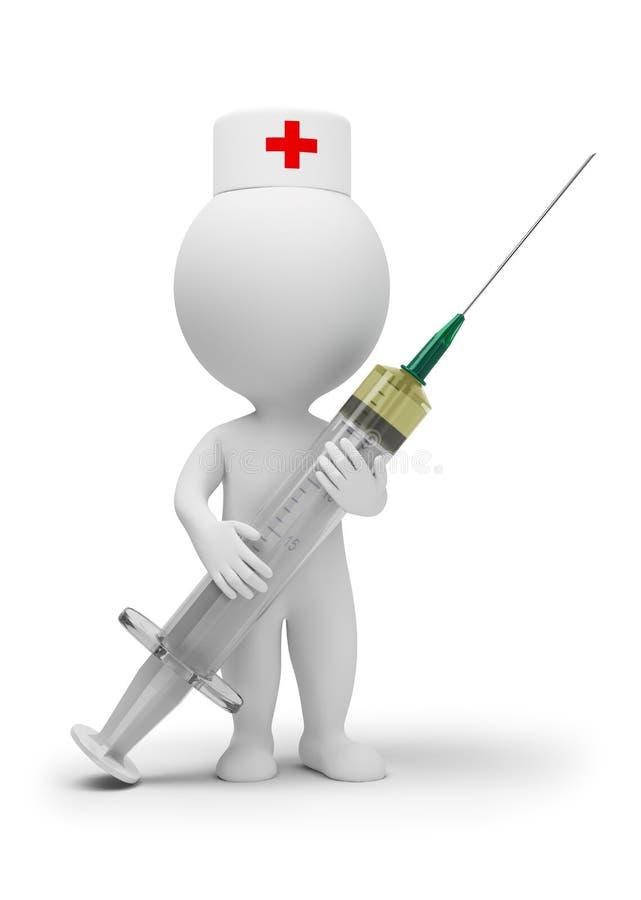 3d petits gens - docteur avec la seringue illustration stock