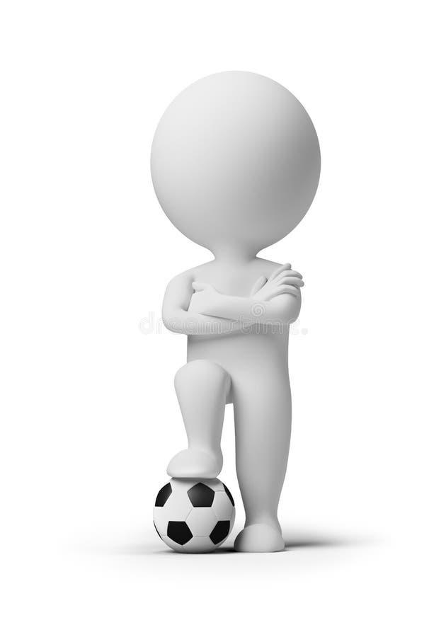3d petits gens - footballeur avec une bille illustration stock