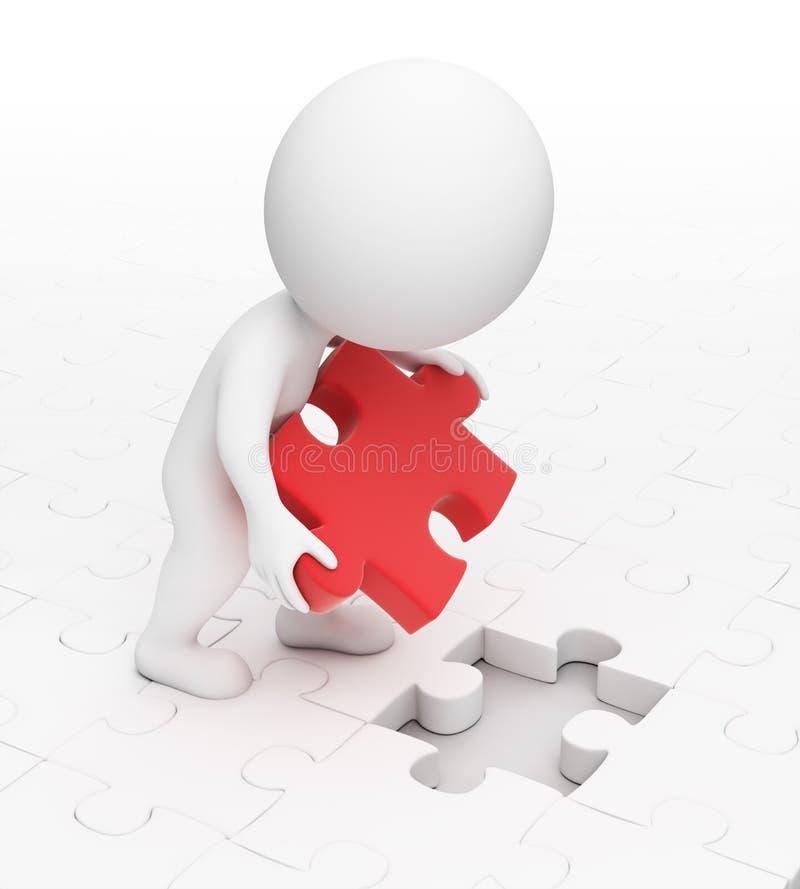 3d petits gens - puzzle illustration libre de droits