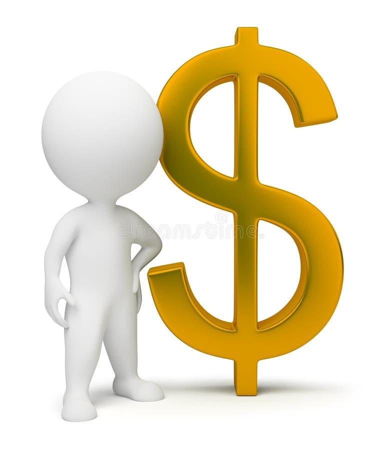3d petits gens - signe du dollar illustration stock
