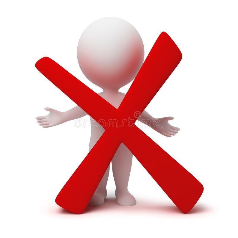 3d petits gens - symbole négatif illustration libre de droits