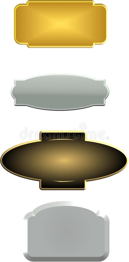 3d Pewter name plates stock illustration