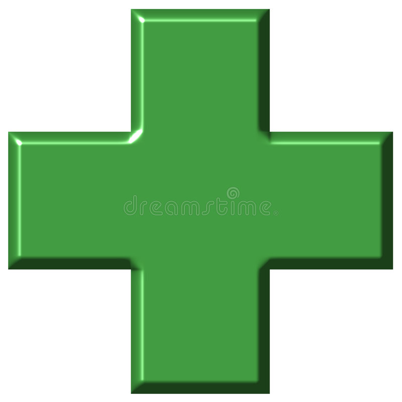Download 3D Pharmacy Cross stock illustration. Image of green, symbolic - 5184412