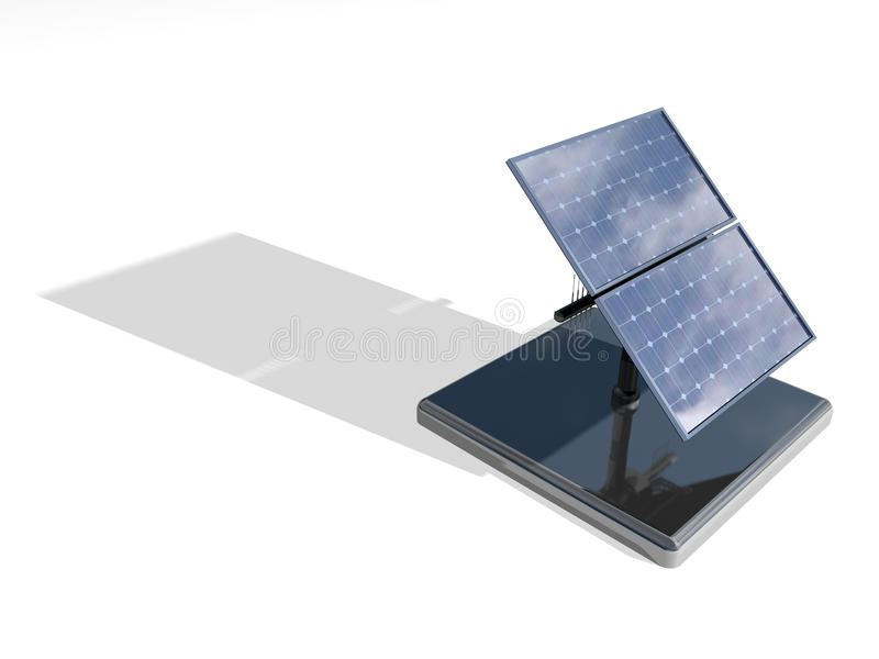 3D photo voltaic cell. 3D rendering of a photo-voltaic electrical generating cell converting solar energy into electrical energy stock photo