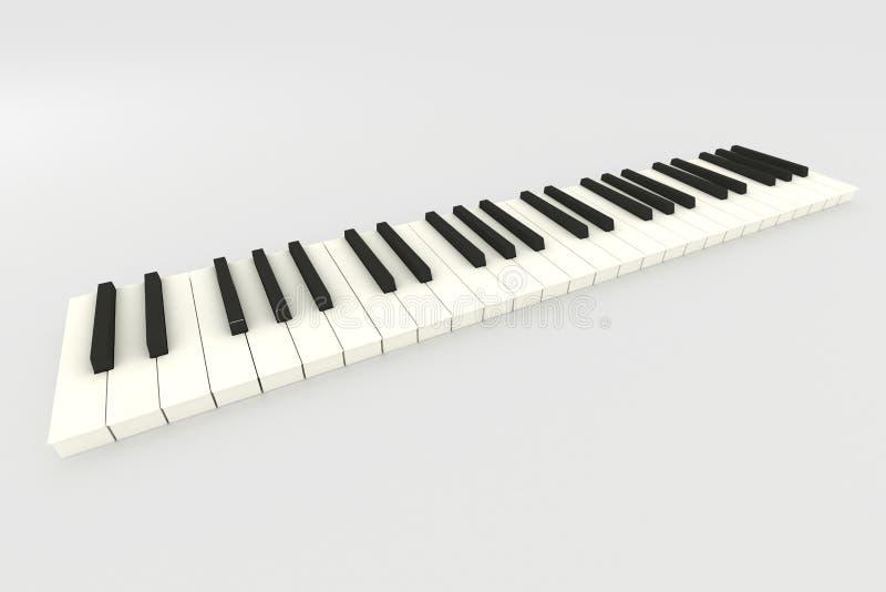 3D pianotoetsenbord stock illustratie