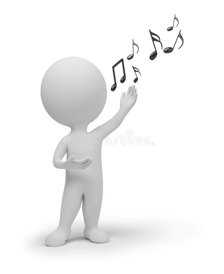 3d piccola gente - cantante illustrazione di stock