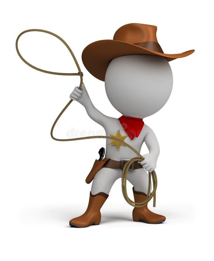 3d piccola gente - cowboy illustrazione vettoriale