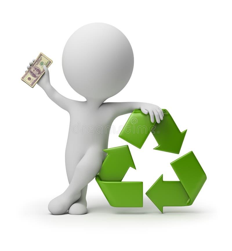 3d piccola gente - pagamento per riciclare illustrazione vettoriale