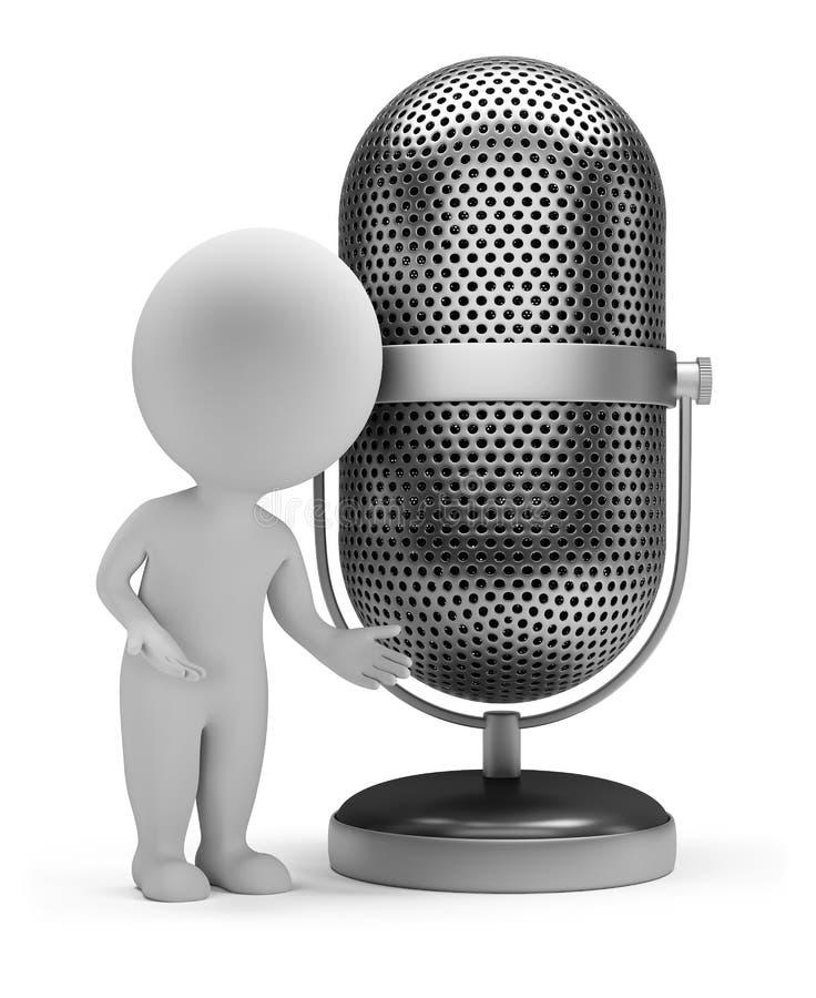 3d piccola gente - retro microfono illustrazione di stock