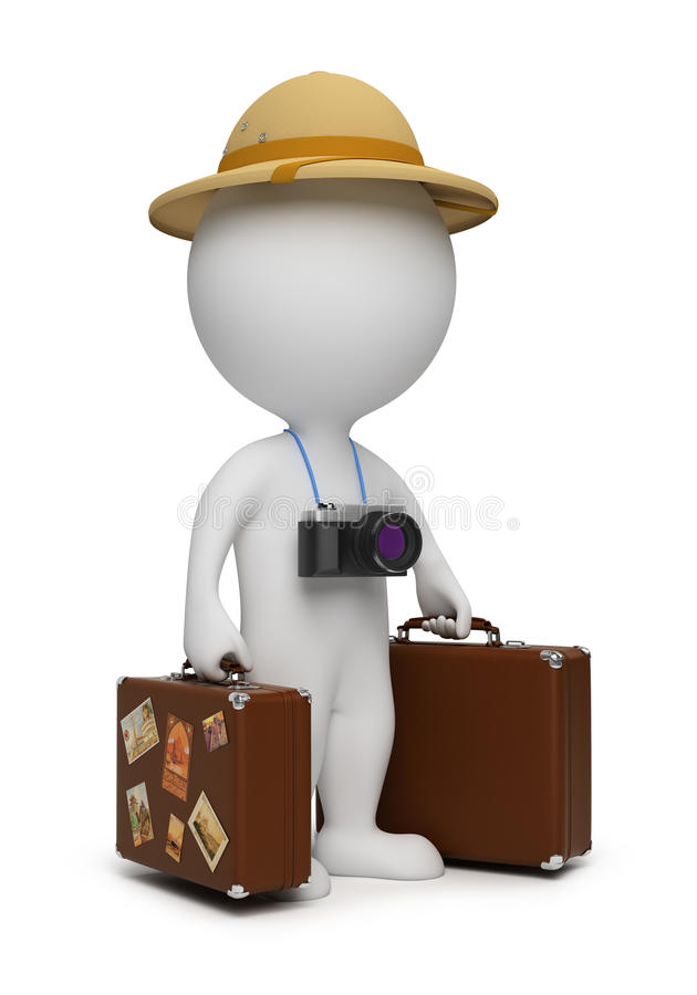 3d piccola gente - turista illustrazione vettoriale