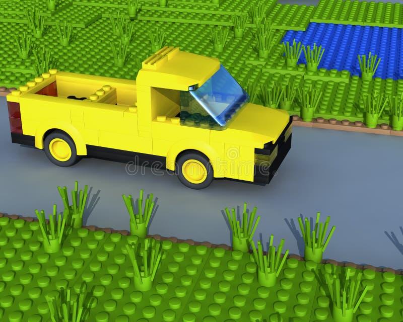 3d pickup drogi kolor żółty royalty ilustracja