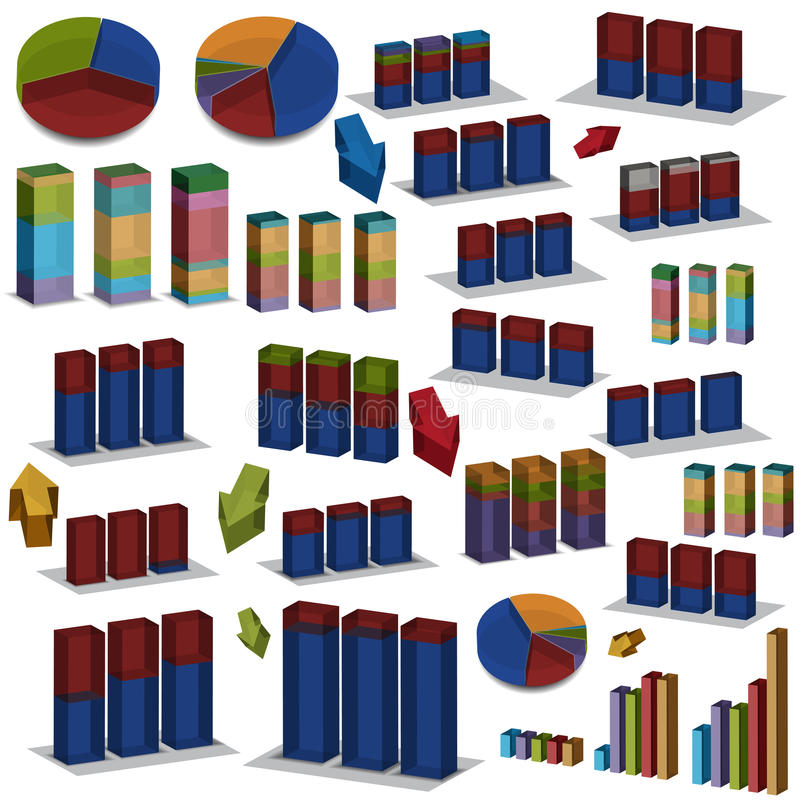 3D Pie And Bar Charts Stock Images