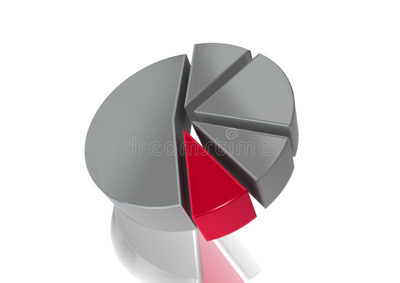 3D Pie Chart. A monochrome 3D pie chart with a sliver of colour royalty free illustration