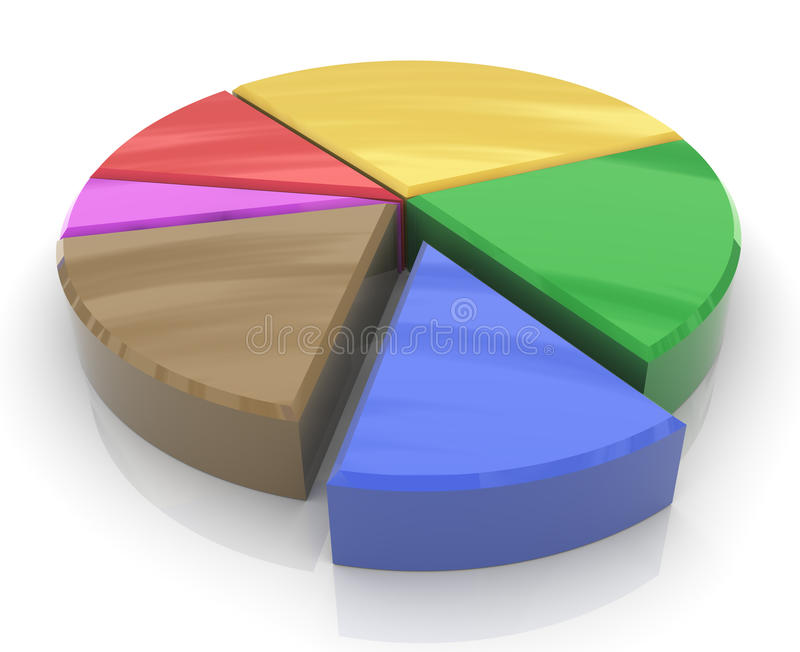 3d pie chart. 3d render of colorful pie chart stock illustration