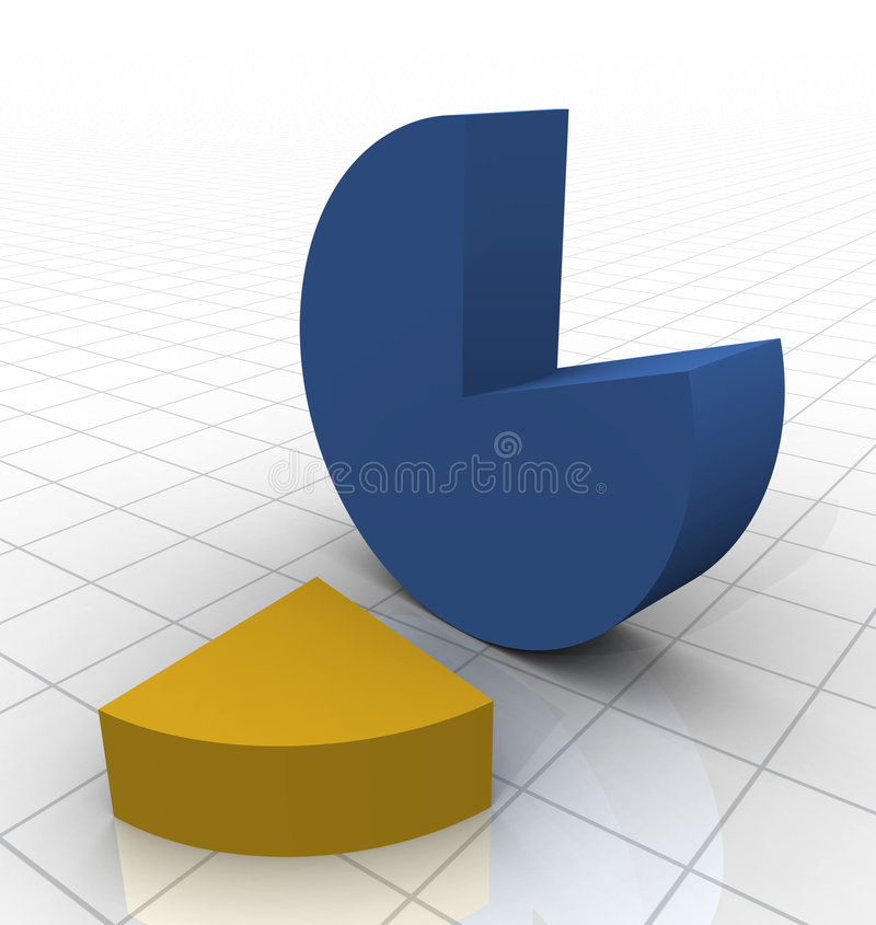 3D Pie Chart. On white reflective grid vector illustration